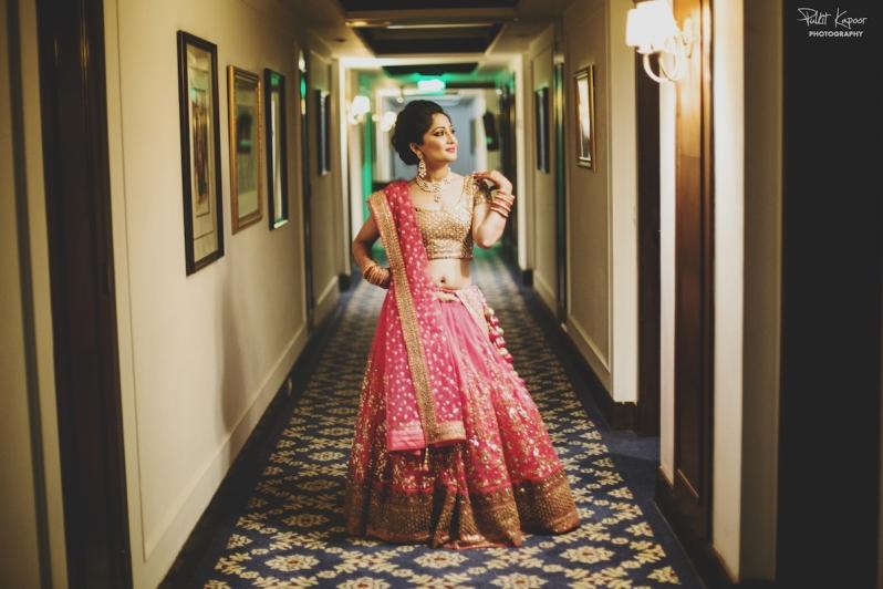 Wedding Wardrobe Apoorva - pink & gold Frontier Raas bride in Sabyasachi style lehenga