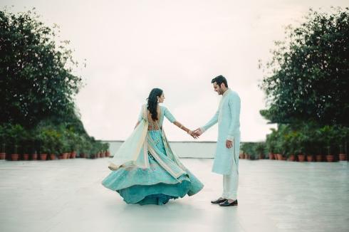 Wedding Wardrobe Masoom Minawala - Anita Dongre bride in blue gota patti lehenga - twirling