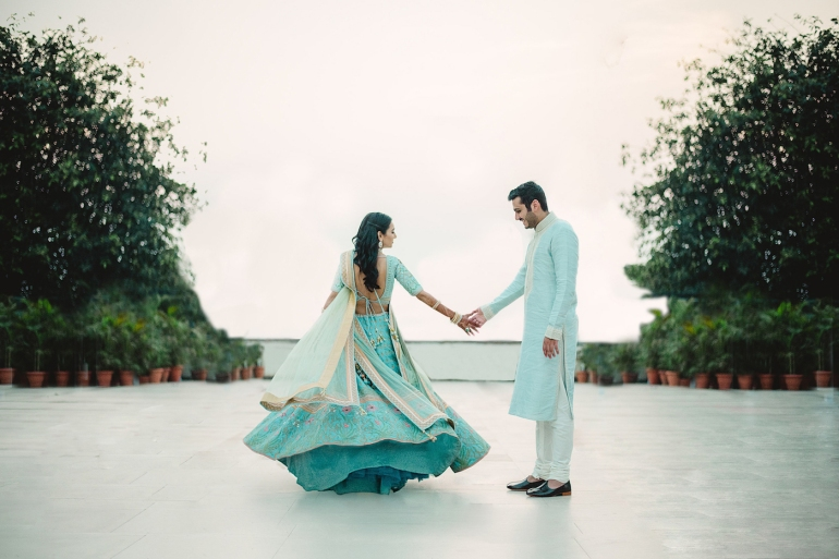 Wedding Wardrobe Masoom Minawala - Anita Dongre bride in blue gota patti lehenga - twirling