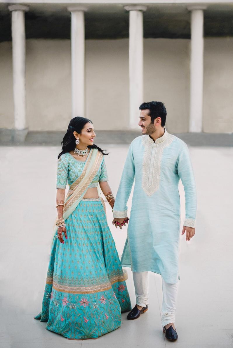 Wedding Wardrobe Masoom Minawala - Anita Dongre bride in blue gota patti lehenga - with Shailin