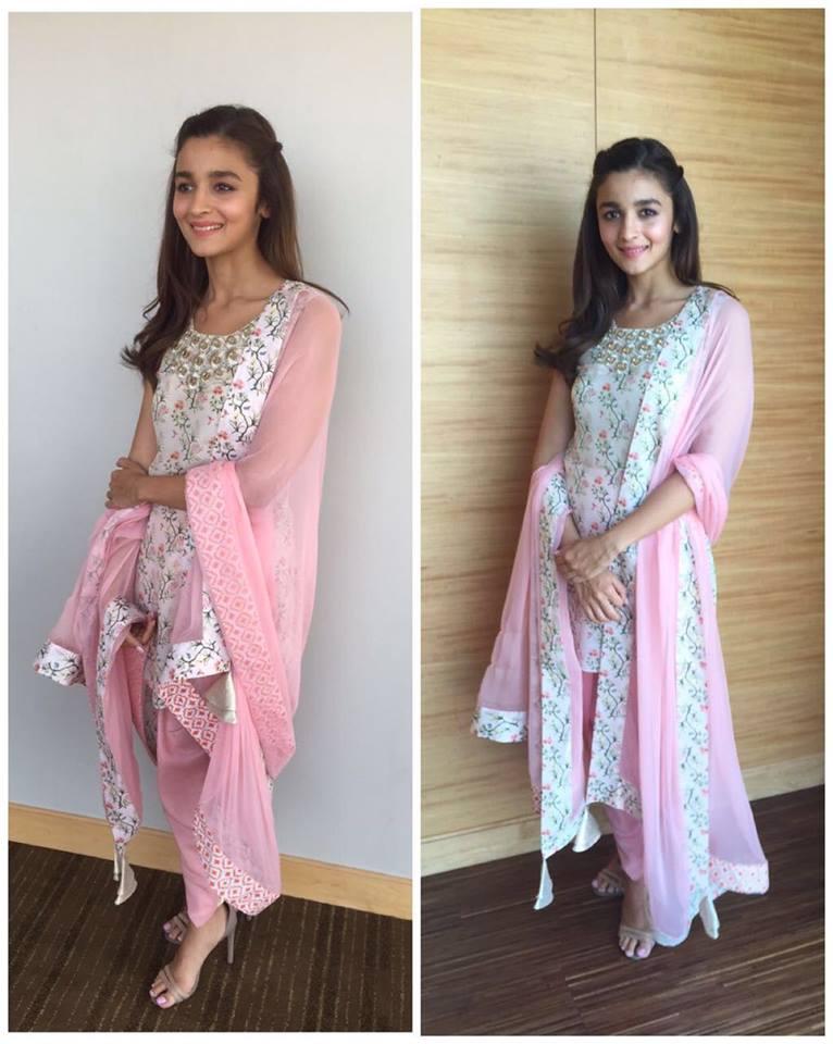 Alia Bhatt in pink dhoti pants and kurta by Payal Singhal - Bollywood - Celebrity fashion 2016