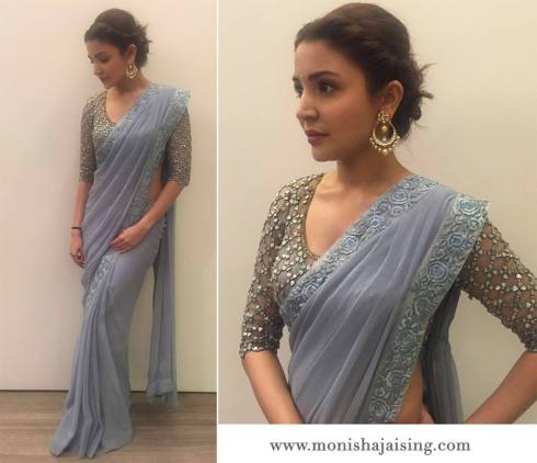 Anushka Sharma in a pale blue chiffon sari with mother of pearl blouse by Monisha Jaising - Bollywood - Celebrity fashion 2016
