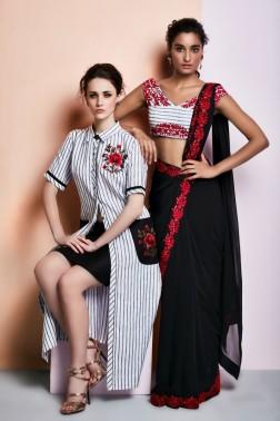 Black sari with red border | Black & white striped kurta with black skirt