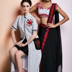 Black sari with red border | Black & white striped kurta with black skirt