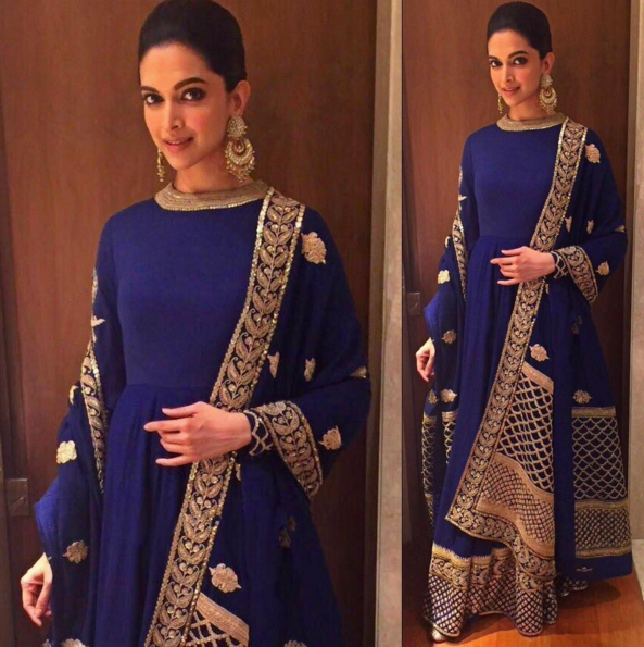 Deepika Padukone in a blue and gold anarkali by Sabyasachi - Bollywood - Celebrity fashion 2016