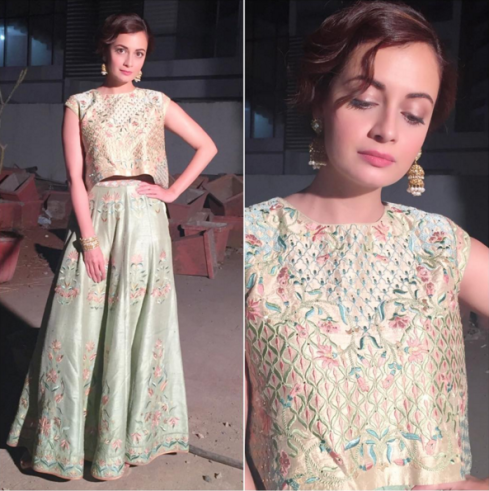 Dia Mirza in a sage green embroidered crop top and sharara by Anita Dongre - Bollywood - Celebrity fashion 2016