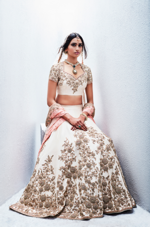 Editor's Picks - Antique embroidery on ivory lehenga with baby pink shaded dupatta - Sue Mue - Spring summer collection 2016
