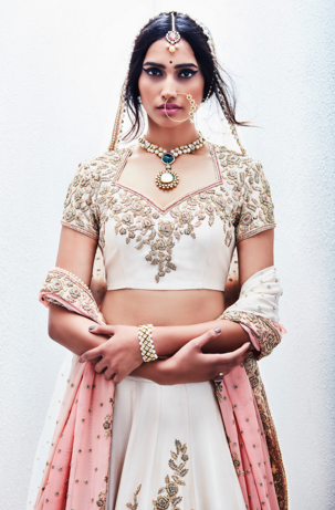 Editor's Picks - Antique embroidery on ivory wedding lehenga with baby pink shaded dupatta - Sue Mue - Spring summer collection 2016