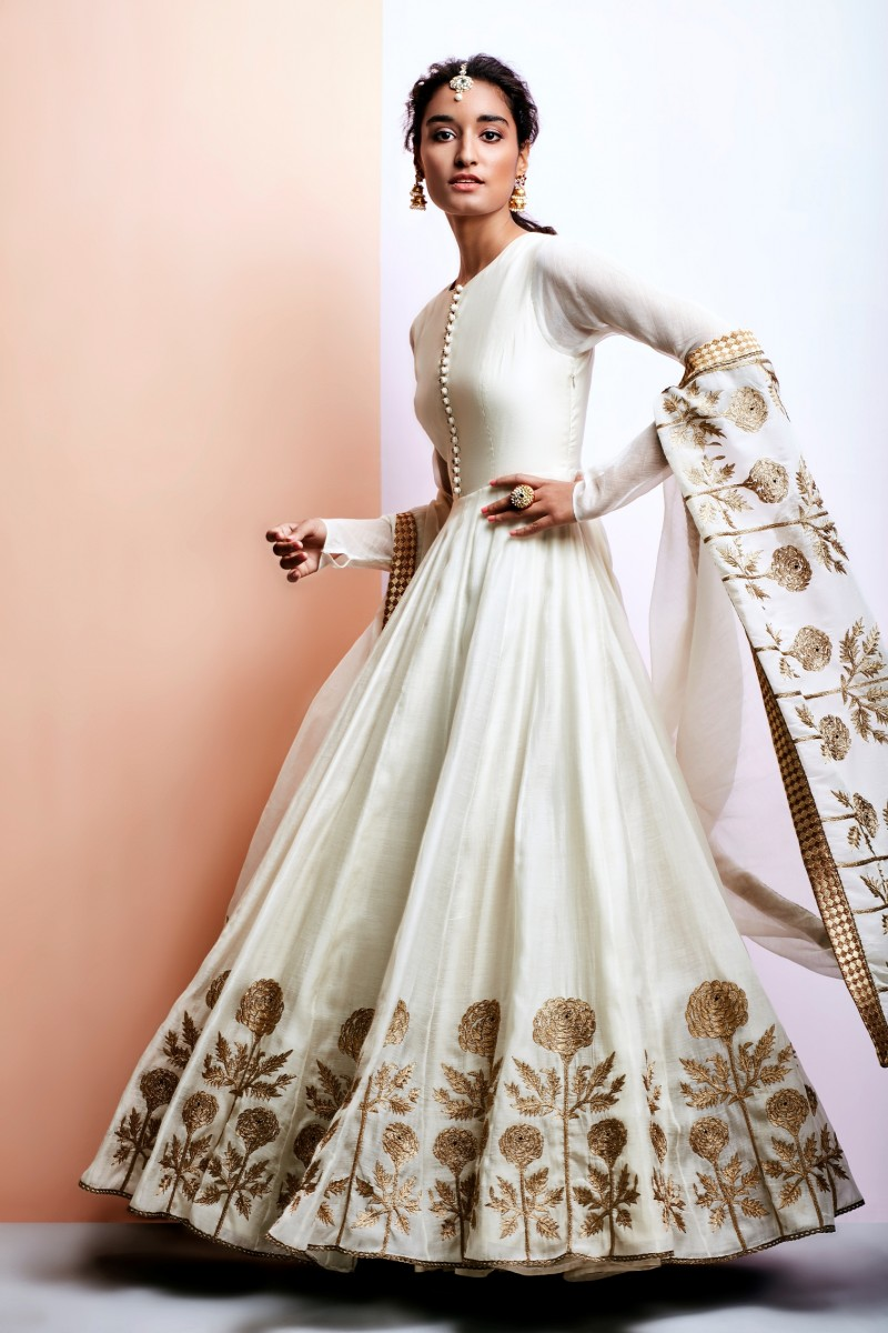 Editor S Picks Ivory Flared Anarkali Suit With Gold Embroidery