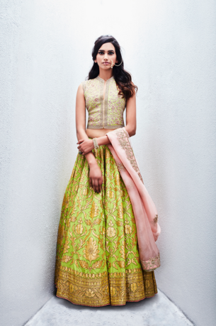 Editor's Picks - Lime green floral lehenga with floral mint blouse - Sue Mue - Spring summer collection 2016