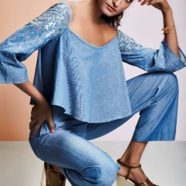 Ice blue crop top and pants