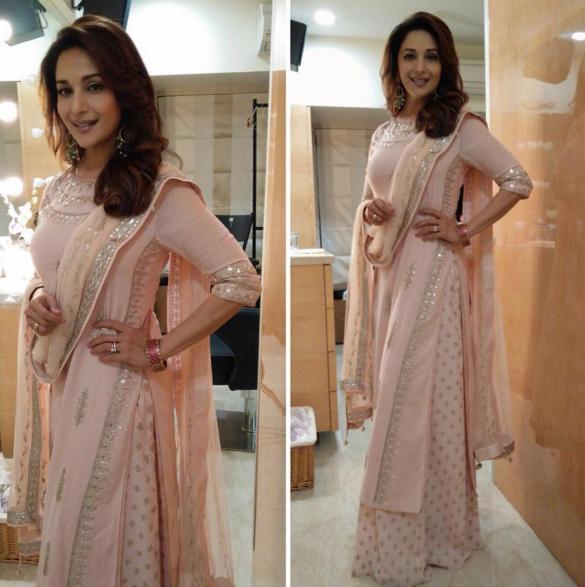 Madhuri Dixit in blush peach gota patti kurta and printed palazzos by Anita Donge - Bollywood - Celebrity fashion 2016