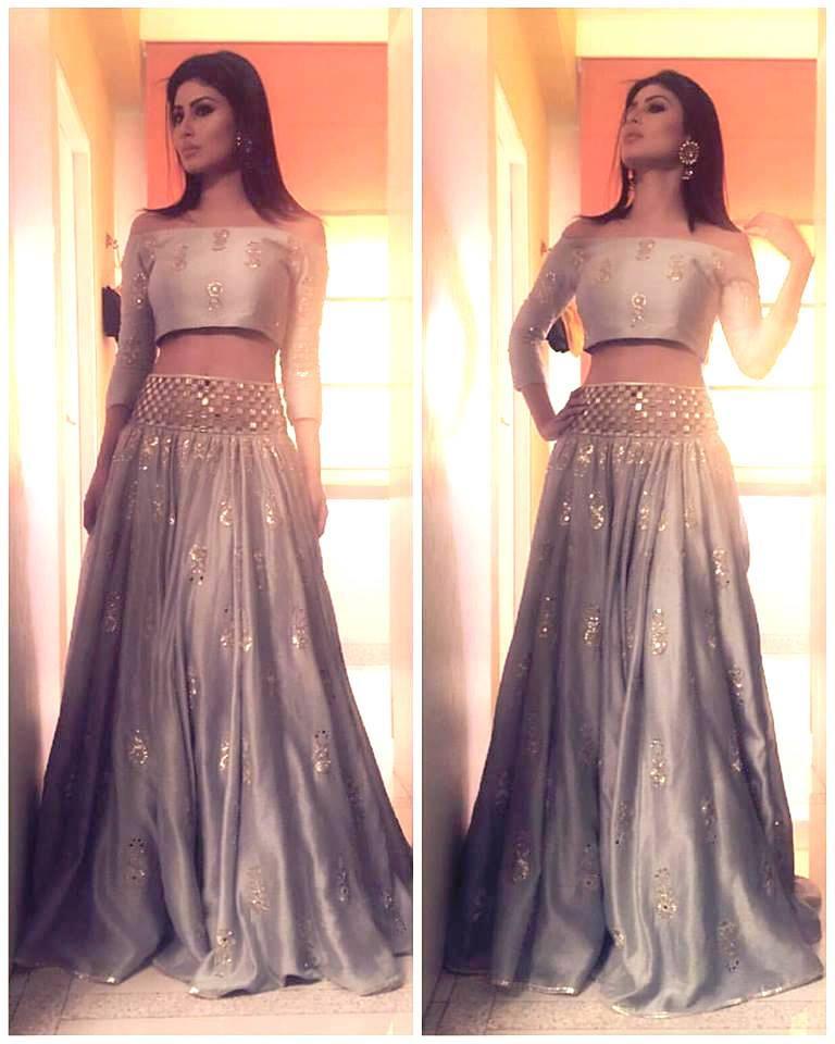 Mouni Roy in a silver grey lehenga by Payal Singhal - Bollywood - Celebrity fashion 2016