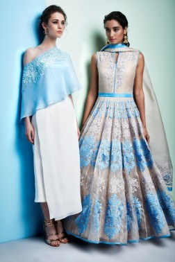 Powder blue off-shoulder top with white skirt | Soft grey and powder blue anarkali suit