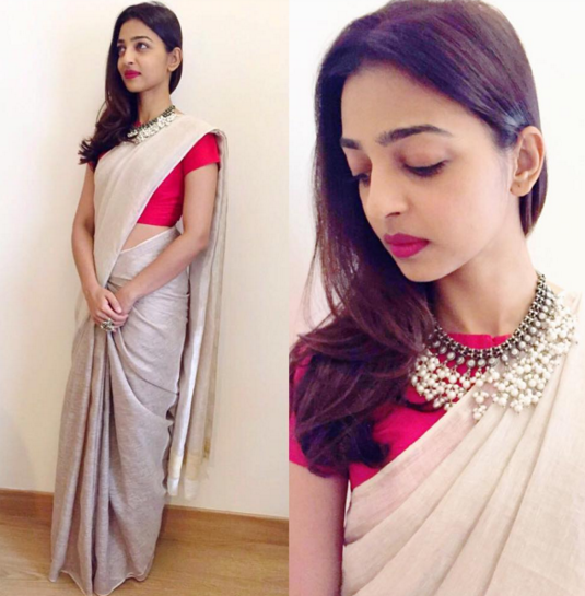 Radhika Apte in a nude colour sari with red blouse by Anavila M - Bollywood - Celebrity fashion 2016