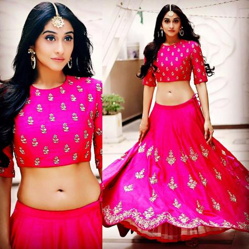 Regina Cassandra in a pink lehenga choli by Jayanti Reddy - Bollywood - Celebrity fashion 2016