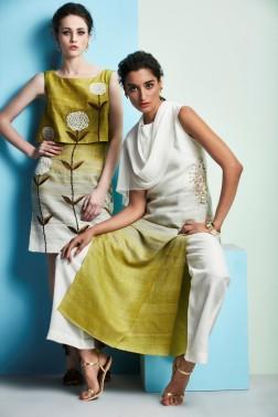 Shaded kurta | Shaded white and green top and skirt