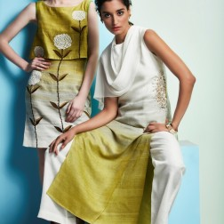 Shaded kurta | Shaded white and green top and skirt