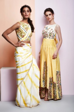 Shades of yellow - Yellow and white sari with floral embroidery