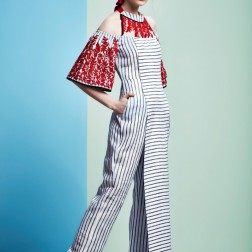 White striped jumpsuit with red bell sleeves