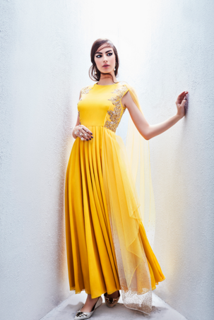 Yellow anarkali gown