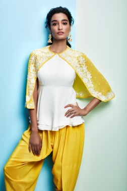 Yellow cape with white shirt and yellow dhoti pants