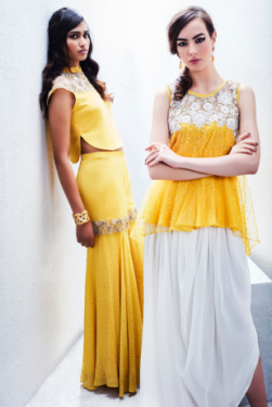 Yellow crop top and skirt, yellow top with white dhoti pants