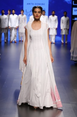1 White anarkali with white jacket and block print border | Anita Dongre Love Notes | Lakme Fashion Week 2016