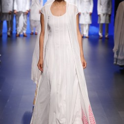 1 White anarkali with white jacket and block print border | Anita Dongre Love Notes | Lakme Fashion Week 2016