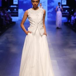 11 White lehenga with silver gota pati overlap front blouse | Anita Dongre Love Notes | Lakme Fashion Week 2016