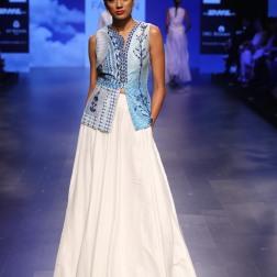 12 Blue print blouse with white lehenga   Anita Dongre Love Notes   Lakme Fashion Week 2016