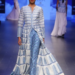 13 Printed blue and ivory anarkali jacket with printed pants | Anita Dongre Love Notes | Lakme Fashion Week 2016