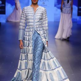 13 Printed blue and ivory anarkali jacket with printed pants | Anita Dongre Love Notes | Lakme Fashion Week 2016