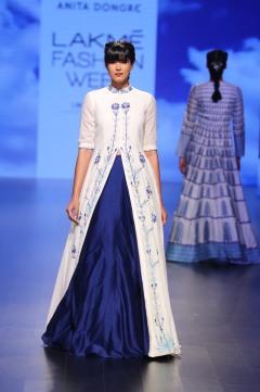 14 White jacket anarkali with threadwork and blue lehenga   Anita Dongre Love Notes   Lakme Fashion Week 2016