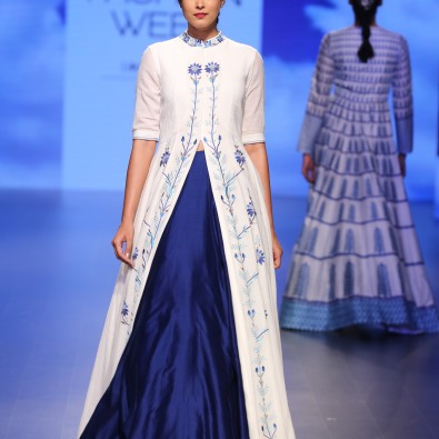 14 White jacket anarkali with threadwork and blue lehenga | Anita Dongre Love Notes | Lakme Fashion Week 2016