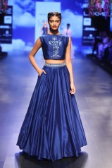 15 Blue floral embroidered crop top with skirt   Anita Dongre Love Notes   Lakme Fashion Week 2016