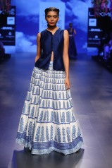 16 Bougainvillea print blue and ivory lehenga with blouse   Anita Dongre Love Notes   Lakme Fashion Week 2016