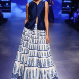 16 Bougainvillea print blue and ivory lehenga with blouse | Anita Dongre Love Notes | Lakme Fashion Week 2016