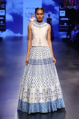 18 Ivory & blue print lehenga with gota patti neckline jacket blouse | Anita Dongre Love Notes | Lakme Fashion Week 2016