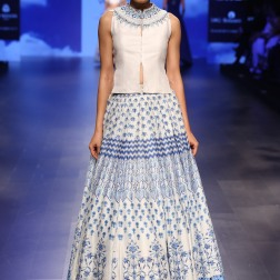 18 Ivory & blue print lehenga with gota patti neckline jacket blouse | Anita Dongre Love Notes | Lakme Fashion Week 2016