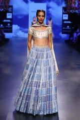 19 Blue print lehenga with ivory and silver gota patti blouse   Anita Dongre Love Notes   Lakme Fashion Week 2016