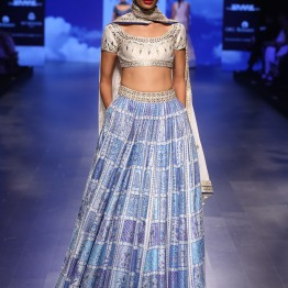 19 Blue print lehenga with ivory and silver gota patti blouse | Anita Dongre Love Notes | Lakme Fashion Week 2016
