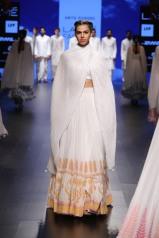 2 White lehenga with orange block print border   Anita Dongre Love Notes   Lakme Fashion Week 2016