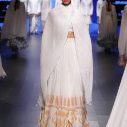 2 White lehenga with orange block print border | Anita Dongre Love Notes | Lakme Fashion Week 2016