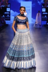 20 Blue and ivory printed rows on a lehenga with dark blue floral embroidered blouse   Anita Dongre Love Notes   Lakme Fashion Week 2016