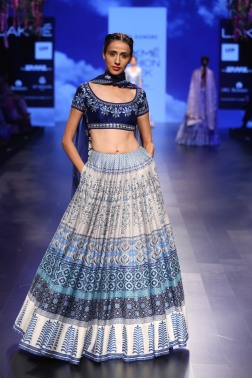 20 Blue and ivory printed rows on a lehenga with dark blue floral embroidered blouse | Anita Dongre Love Notes | Lakme Fashion Week 2016