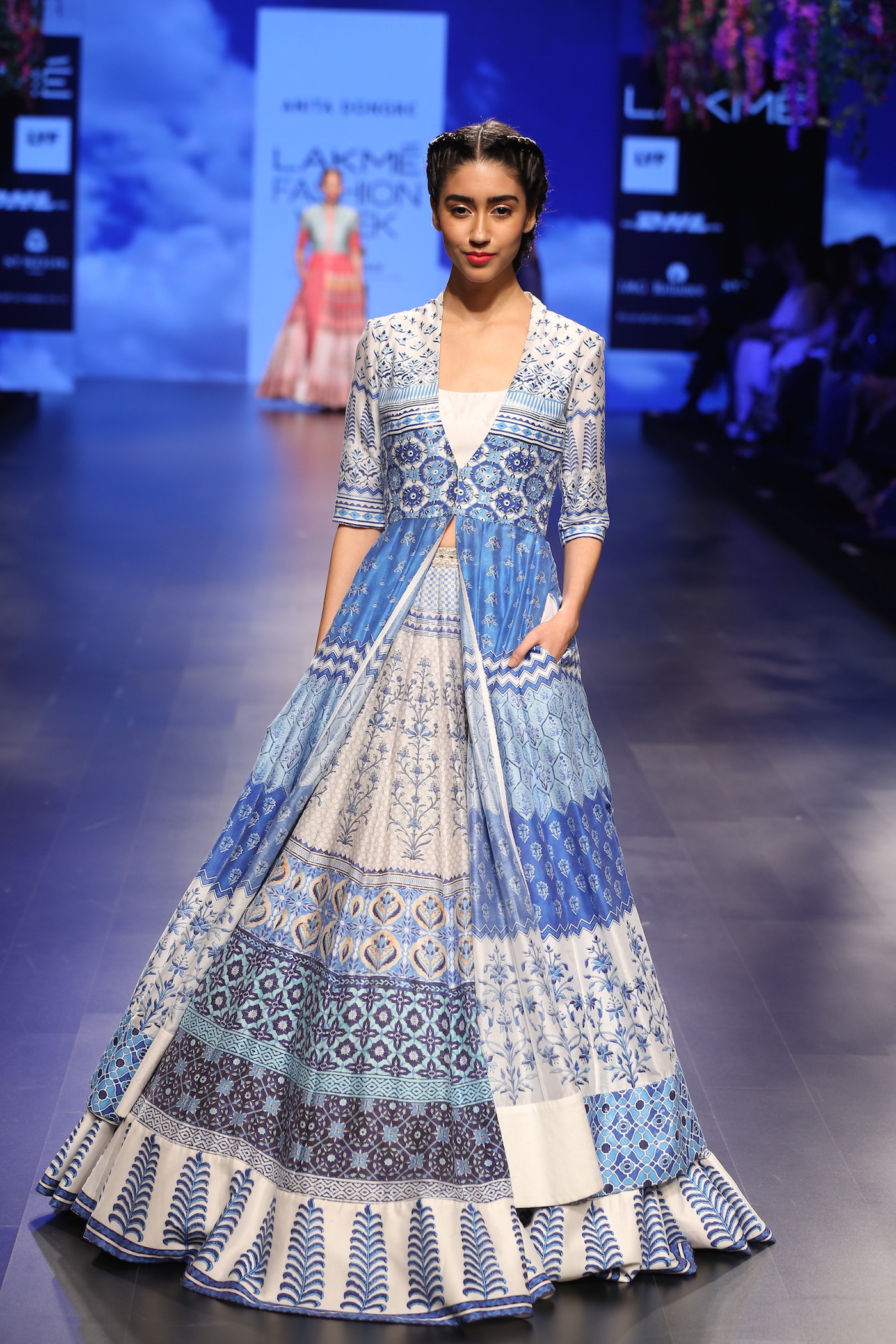 21 printed jacket anarkali with lehenga in blue and white