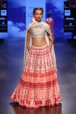 24 Red and white printed lehenga with gota patti ivory blouse | Anita Dongre Love Notes | Lakme Fashion Week 2016