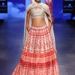 24 Red and white printed lehenga with gota patti ivory blouse | Anita Dongre Love Notes | Lakme Fashion Week 2016