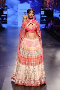 25 Multicoloured printed lehenga with hot pink gota patti blouse | Anita Dongre Love Notes | Lakme Fashion Week 2016
